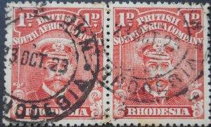 Rhodesia Admiral 1d pair with ABERCORN (DC) postmark