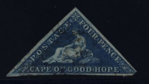 Cape of Good Hope 2 on blued paper used w/small anchor wmk - 4 pence
