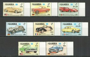 U0306 1986 GAMBIA AMERIPEX INTERNATIONAL CARS KARL BENZ ANNIVERSARY 1SET FIX