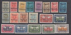 J29490, 1920 austria set mh #b11-29 ovpt,s