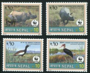 Nepal 2000 Sc 682-685 WWF Rhino Birds Florican Stork CV $5.75