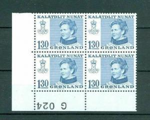 Greenland. 1 MNH Plate Block 1977  #  G 024. Queen 130 Ore. Engraver : Cz Slania