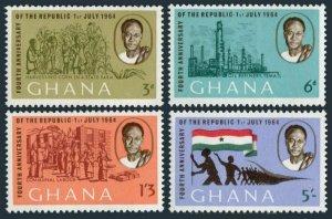 Ghana 167-170,170a sheet, MNH. Michel 173-176,Bl.10. Nkrumah, Flag, Oil industry
