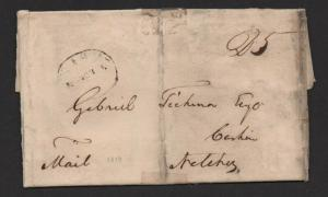 $Nashville Tenn stampless cover March 5, 1819 oval F/L
