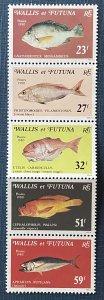 Wallis and Futuna Islands 260a MNH Strip of 5 Fish (SCV $13.00)