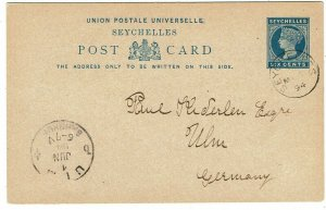 Seychelles 1894 6c postal card used to Germany