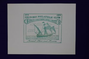 Columbus Philatelic Club show & Bourse expo exhibition 1973 Souvenir label sheet