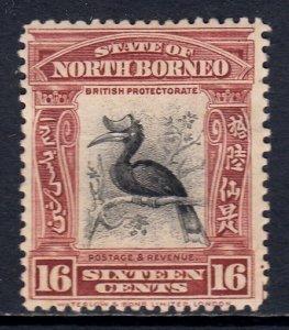 NORTH BORNEO — SCOTT 146b (SG 174) — 1909 16c RHINOCEROS HORNBILL — MH — SCV $30