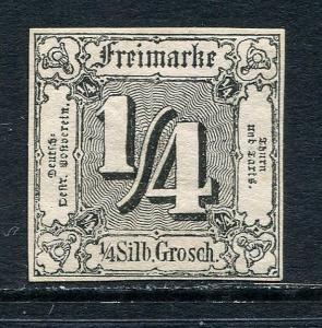 GR Lot 10473 Thurn & Taxis 1852 Michel 21 -- 1-4 Silb Grosch blk on brn-org Ziof