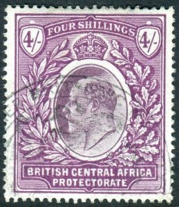BRITISH CENTRAL AFRICA-1903-4 4/- Dull Bright Purple.  A fine used example Sg 64