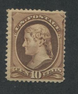 1882 US Stamp #209 10c Mint F/VF Original Gum Catalogue Value $160