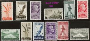 Italian East Africa 1-12 MNH** 1938 short set CV $18