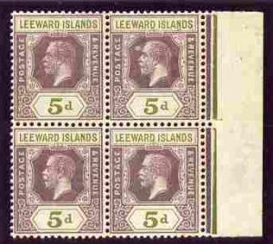 Leeward Islands 1921-32 KG5 5d Script CA marginal block o...