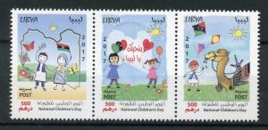 Libya 2017 MNH National Children's Day Drawings 3v Strip Camels Flags Stamps