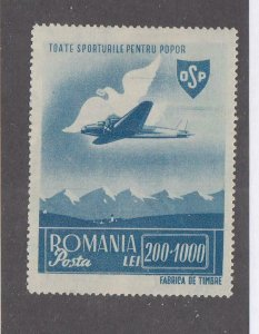 ROMANIA  # B289  VF-MH  MAIL PLANE AND BIRD CARRYING LETTER/ DARK BLUE CV $20