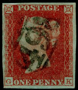 SG8, 1d red-brown PLATE 133, FINE USED. Cat £45. 4 MARGINS. GK