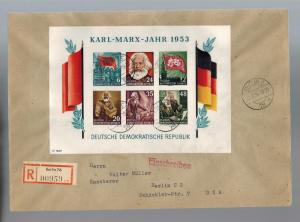 1954 Berlin DDR East Germany Karl Marx Souvenir Sheet Cover # 144a