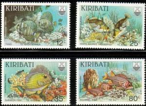 4 Different Reef Fishes, Kiribati stamp SC#452-455 MNH set
