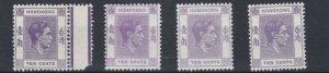 HONG KONG  1938 - 52  S G 145  - 145C  4 X 10C  VALUES  LMH  CAT £94