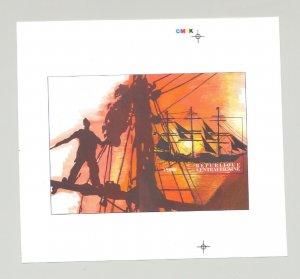 Central Africa 1996 Ships 1v S/S Imperf Chromalin Essay #2