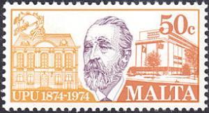 Malta # 487 mnh ~ 50¢ UPU, Congress Building and UPU HQ, Bern