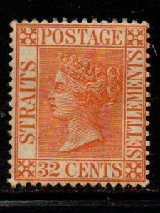 Straits Settlements Sc 56 1887 32 c red orange Victoria stamp mint