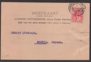 *Netherlands Postal Card SC# 65 To Spain