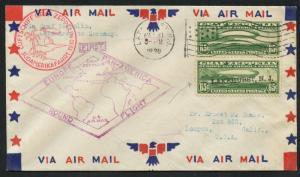 #C13 VERT PAIR ON 1ST FLIGHT COVER NEW JERSEY - GERMANY - LOMPOC, CAL. BU2889