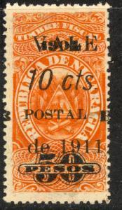 NICARAGUA 1911 10c on 50pesos SPLIT B Var ZELAYA PROVINCE BLUEFIELDS Sc 1L06