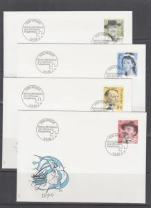 Switzerland Mi 1409/1435, 1990 issues, 7 sets in singles on 15 cacheted FDCs