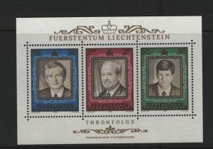 LIECHTENSTEIN 885 Souvenir Sheet, MNH, 1988 Succession to the Throne