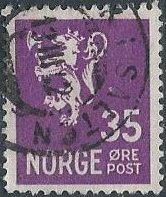 Norway 199 (used) 35ø lion rampant, brt vio (1941)