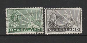Nyasaland 1934 1/2d & 2d Used SG 114 & 117