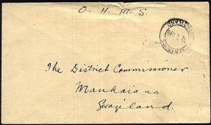 SWAZILAND 1949 OHMS cover Mbadane to Mankaiana.............................23625