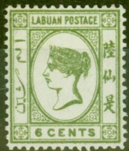 Labuan 1894 6c Brt Green SG52b No Dot at Upper Left Fine Mtd Mint