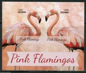 GUYANA PINK FLAMINGOS  SOUVENIR SHEET  IMPERFORATED MINT NH