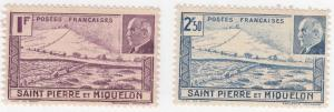 St Pierre & Miquelon, Sc 206A-B, MNG, 1941, Lighthouse on cliff