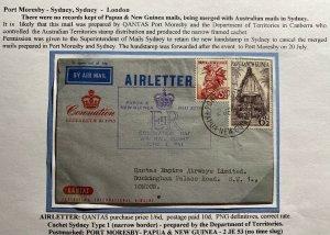 1953 Port Moresb Papua New Guinea Air Letter Cover Queen Elizabeth Coronation 2
