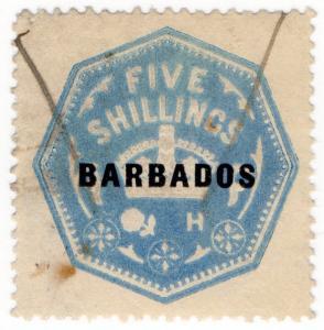 (I.B) Barbados Revenue : Duty Stamp 5/- (die H)