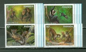 RWANDA 1988 MONKEYS #1306-09   SET MNH...$13.70
