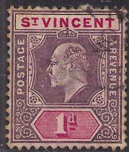 St Vincent 1904 - 11 KEV11 1d Purple & Carmine used SG 86 ( B893 )