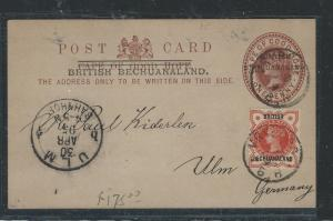 BECHUANALAND (PP0312B) 1905 QV 1D PSC UPRATED GB OVPT QV 1/2D TO GERMANY NO MSG