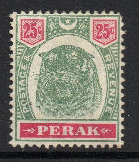 MALAYA PERAK SG73 1897 25c GREEN & CARMINE MTD MINT