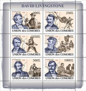 COMORES 2008 SHEET DAVID LIVINGSTONE EXPLORER PIONEER MEDICAL MISSIONARY cm8209a