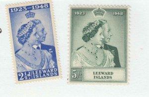LEEWARD ISLANDS # 118-119 VF-MNH KGV1 1948 SILVER WEDDING (LWX1)
