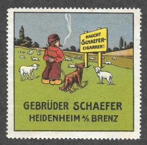 German Poster Cinderella stamp, Cigar, Shepard, Gebruder Scahefer, Heidenheim