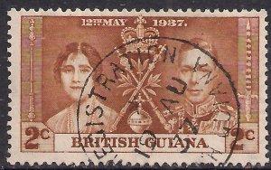 British Guiana 1937 KGV1 2ct Yellow Brown Coronation SG 305 ( C631 )