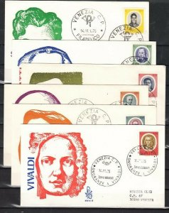 Italy, Scott cat. 1204-1209. Composers & Musicians issue. 6 First day covers. *