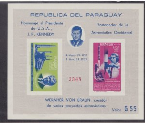 Paraguay # 841a, John F. Kennedy, Space Achievements,imperf, NH, 1/2 Cat.