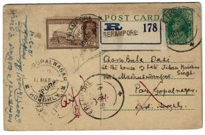 India 1941 Registered Uprated Reply Card, Entire, Small Pinholes - Lot 101517